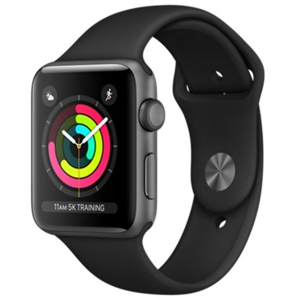 Apple Watch Series 3 38mm, Vesmírně šedý hliník - černý sportovní řemínek