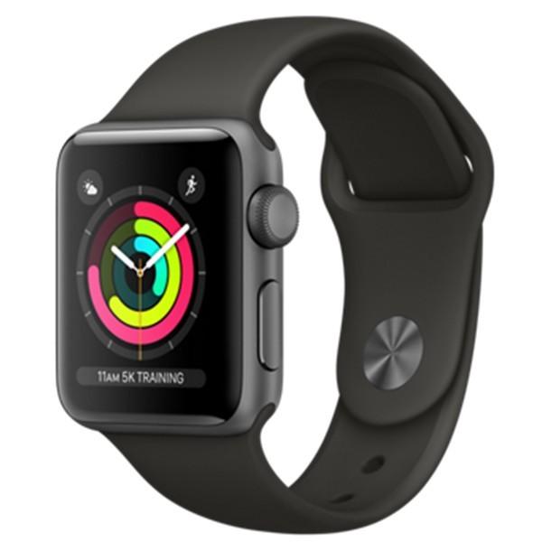 Apple Watch Series 3 38mm, Vesmírně šedý hliník - šedý sportovní řemínek