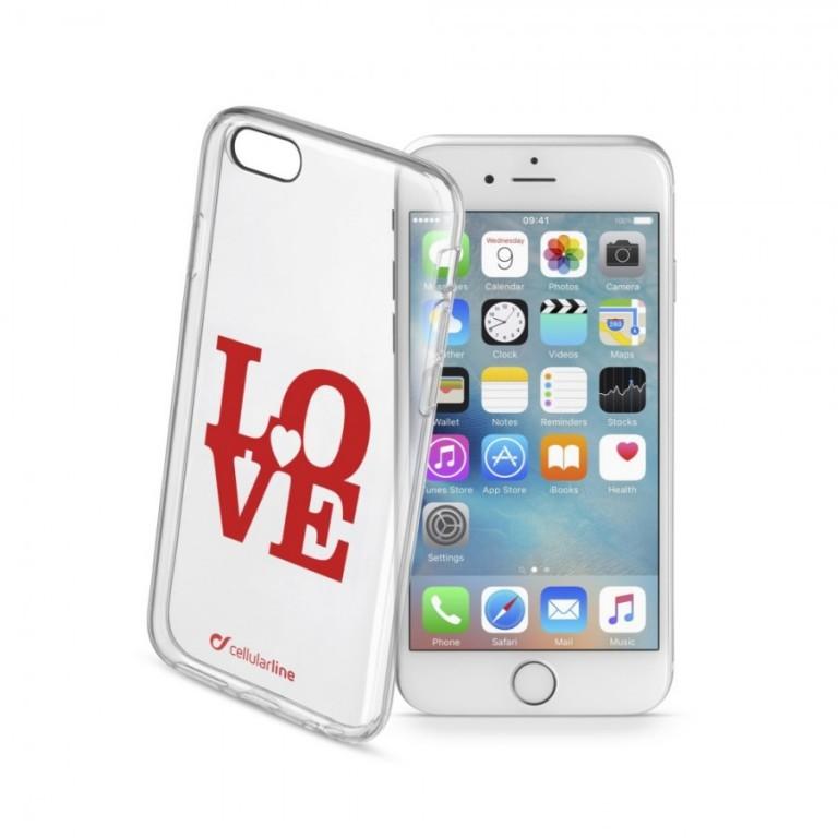 Průhledné gelové pouzdro Cellularline STYLE pro Apple iPhone 6/6S, motiv LOVE