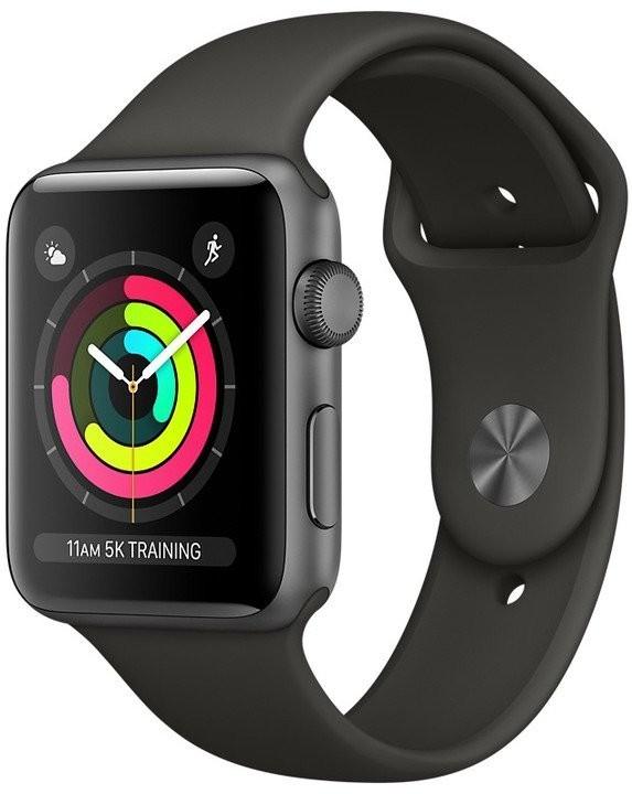 Apple Watch Series 3 42mm, Vesmírně šedý hliník - šedý sportovní řemínek