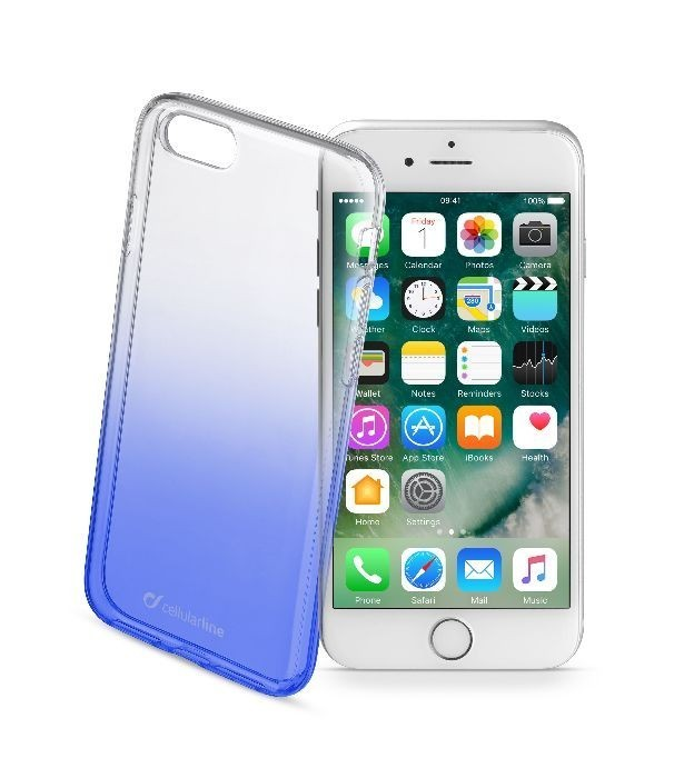 Ultratenký průhledný zadní kryt CellularLine SHADOW pro Apple iPhone 7, TPU, modrý