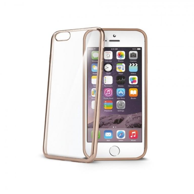 TPU pouzdro CELLY Laser - lemování s kovovým efektem pro Apple iPhone 6/6S, zlaté
