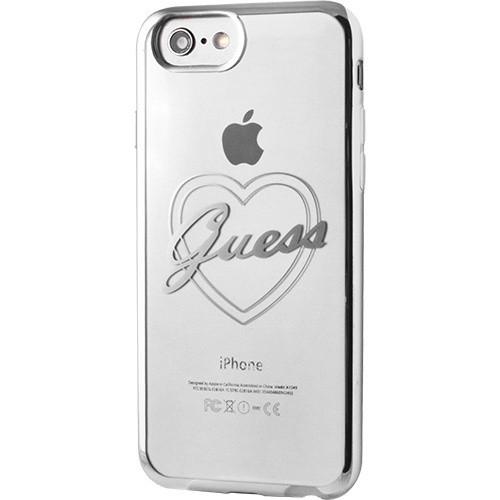 Soft case GUESS pro iPhone 7, stříbrné okraje, transparentní