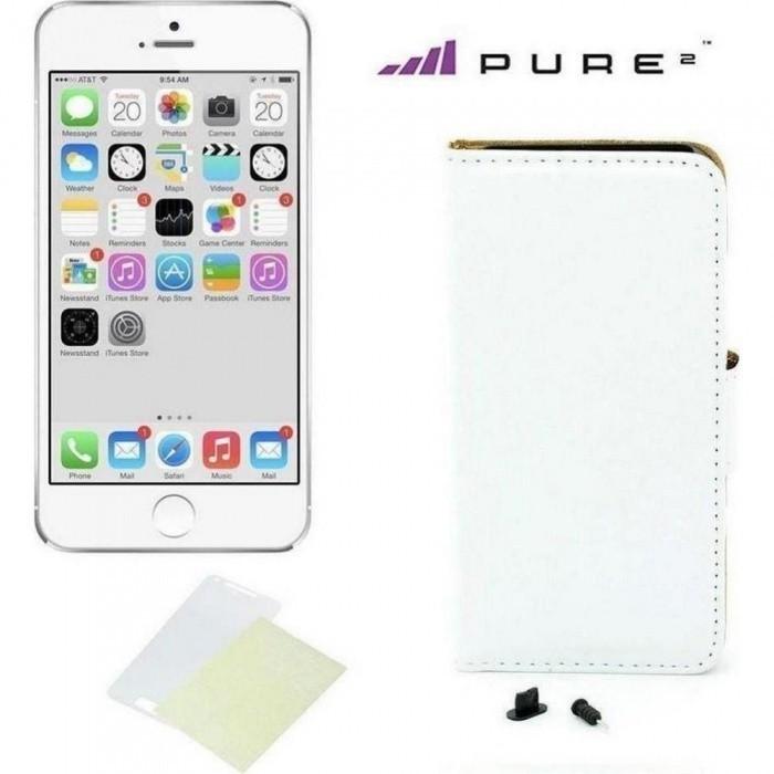 Pouzdro kniha Pure pro iPhone 6/6s, bílá kůže + ochranná fólie