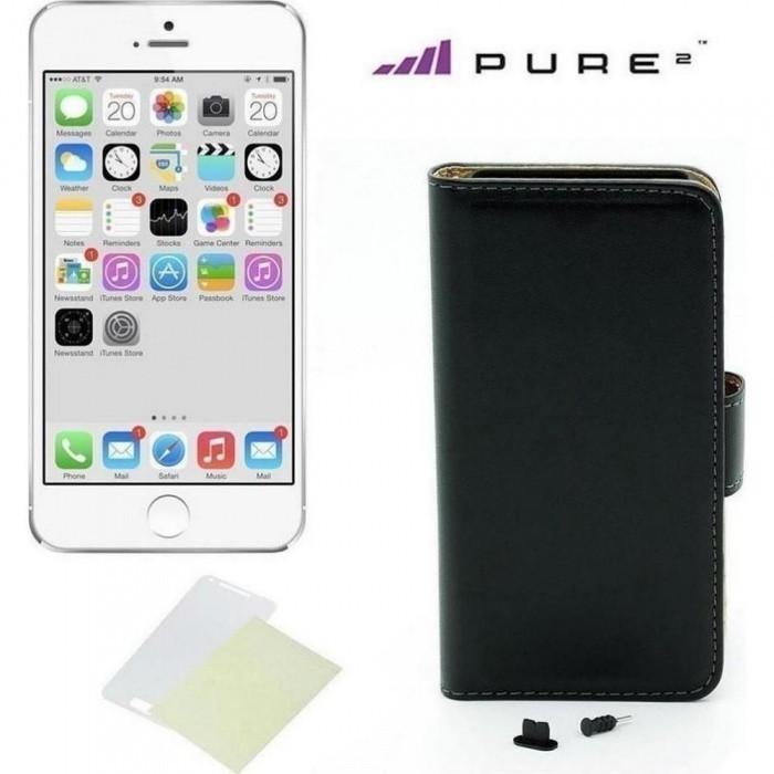 Pouzdro kniha Pure pro iPhone 6/6s, černá kůže + ochraná fólie